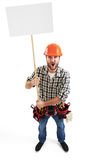 Displeasure screaming handyman. View from above of displeasure screaming handyman with empty white placards for your text. isolated on white background Royalty Free Stock Photo