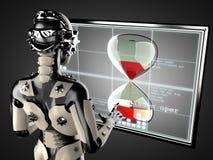 Displey de manipulación del holograma de la mujer del robot Imagenes de archivo