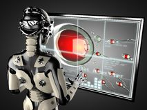 Displey de manipulation d'hologramme de femme de robot Photo stock