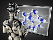 Displey hologram женщины робота манипулируя Стоковое Фото