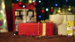 Disponendo un regalo sotto l'albero di Natale video d archivio