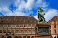 Disponga Gutenberg a Strasburgo l'Alsazia Francia fotografie stock