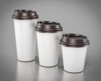 Disponibla plast- koppar för närbild av olika format renderin 3D Royaltyfria Bilder