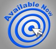 Disponible ahora significa en el momento y accesible Foto de archivo libre de regalías