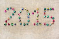 2015 disposés de l'étoile sur la toile à sac Photographie stock