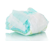 Disposable baby diapers isolated on white. Disposable baby diapers isolated on white background stock photography
