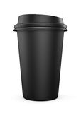 Disposable black plastic Cup with a lid. Cup for coffee. Isolate Stock Photo