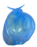 Disposable blue garbage bag Royalty Free Stock Images