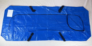 Disposable body bag. Human remains pouch with full-length zipper and handles. Designed to contain a human body, used for the storage and transportation of Royalty Free Stock Photos