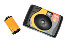 The disposable camera and film Stock Photos