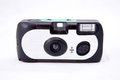Disposable Camera. A disposable film camera against a white background Royalty Free Stock Image
