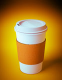 Disposable coffee cup. 3D render of a disposable coffee cup on orange background Stock Image