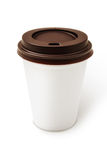 Disposable coffee cup. On white background Royalty Free Stock Photo