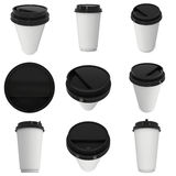 Disposable coffee cup. Blank paper mug with black plastic cap Royalty Free Stock Image