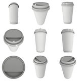 Disposable coffee cup. Blank paper mug with plastic cap Stock Photography