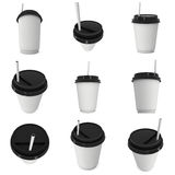 Disposable coffee cup. Blank paper mug with plastic cap Stock Images