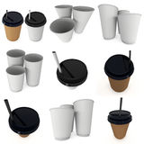 Disposable coffee cup. Brown paper mug with plastic cap. Disposable coffee cup with paper straw set. Brown paper mug with plastic cap. 3d render isolated on Royalty Free Stock Photo