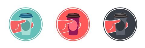 Disposable coffee cup in hand. royalty free illustration
