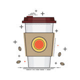 Disposable coffee cup icon with coffee beans, conceptual vector illustration in flat line design. Paper coffee cup Royalty Free Stock Photos