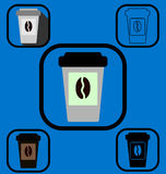 Disposable coffee cup icons set Stock Photography