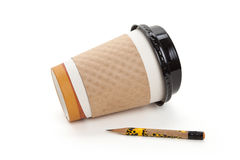 Disposable Coffee Cup and pencil Stock Images
