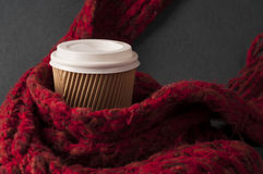 Disposable coffee cup and scarf Stock Image