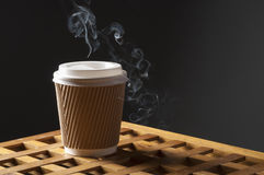 Disposable coffee cup with smoke Stock Photo