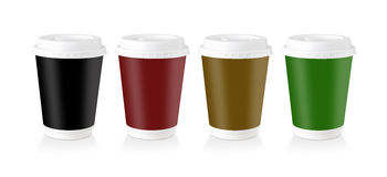 A Disposable Coffee Cup Whit Multi-Colored Label Royalty Free Stock Photography