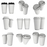 Disposable coffee cups. Blank paper mug with plastic cap. Disposable coffee cups set. Blank paper mug with plastic cap. 3d render isolated on white background Stock Photo