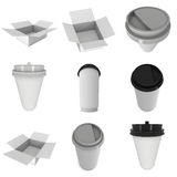 Disposable coffee cups. Blank paper mug with plastic cap. Disposable coffee cups set. Blank paper mug with plastic cap. 3d render isolated on white background Royalty Free Stock Image