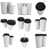 Disposable coffee cups. Blank paper mug with plastic cap. Disposable coffee cups set. Blank paper mug with plastic cap. 3d render isolated on white background Stock Images
