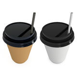Disposable coffee cups. Blank paper mug with plastic cap. Disposable coffee cups with paper straw . Blank paper mug with plastic cap. 3d render isolated on white Stock Photography