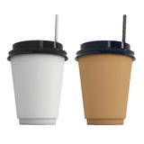 Disposable coffee cups. Blank paper mug with plastic cap. Disposable coffee cups with paper straw . Blank paper mug with plastic cap. 3d render isolated on white Royalty Free Stock Image