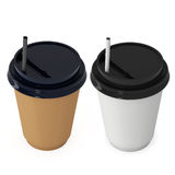 Disposable coffee cups. Blank paper mug with plastic cap Stock Images