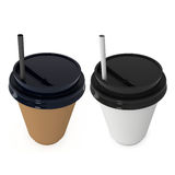 Disposable coffee cups. Blank paper mug with plastic cap Royalty Free Stock Photography