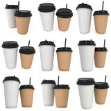 Disposable coffee cups. Blank paper mug with plastic cap. Disposable coffee cups with paper straw set. Blank paper mug with plastic cap. 3d render isolated on Royalty Free Stock Images