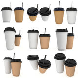 Disposable coffee cups. Blank paper mug with plastic cap. Disposable coffee cups with paper straw set. Blank paper mug with plastic cap. 3d render isolated on Stock Photos