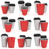 Disposable coffee cups. Blank paper mug. Disposable coffee cups set. Blank paper mug. 3d render isolated on white background Royalty Free Stock Photo