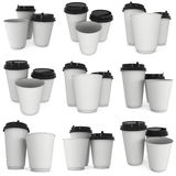 Disposable coffee cups. Blank paper mug. Disposable coffee cups set. Blank paper mug. 3d render isolated on white background Stock Images