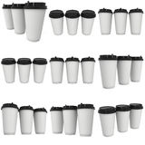 Disposable coffee cups. Blank paper mug. Disposable coffee cups set. Blank paper mug. 3d render isolated on white background Stock Image