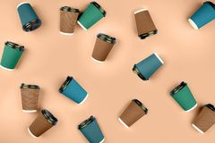 Disposable coffee cups. stock images