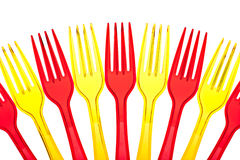 Disposable colored plastic forks Royalty Free Stock Photo