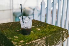 Disposable Cup With Black Beverage royalty free stock photography