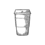 Disposable cup of coffee with cardboard holder and cap. Royalty Free Stock Image