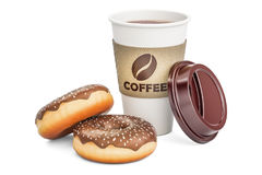 Disposable cup of coffee with chocolate donuts, 3D rendering Royalty Free Stock Images