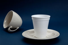 Disposable Cup and Coffee Cup Royalty Free Stock Image