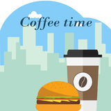 A disposable cup of coffee with a hamburger on a background of the urban landscape. Flat design,  illustration Royalty Free Stock Photos