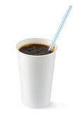 Disposable cup of cola fizzy drink with straw. Standing on a white Royalty Free Stock Photos