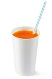 Disposable cup of orange fizzy drink and straw. Standing on a white Royalty Free Stock Photo
