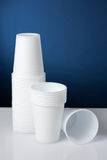 Disposable cups. Group of white disposable plastic cups Royalty Free Stock Image